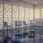Cameo White engraved and backlit wall panels