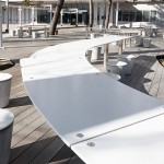 Glacier White tabletop and seating